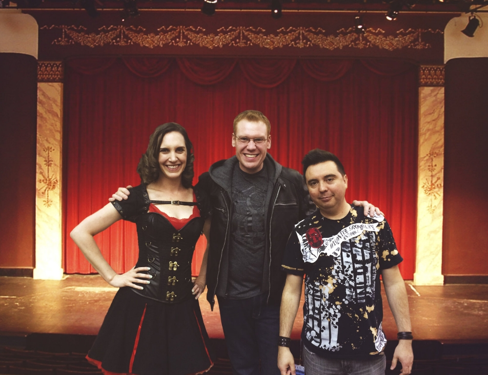 JEFF VELEY WITH the Dynomite magic cast,ASSISTANT LESLEY NADWODNIK AND GUITARIST/ART DIRECTOR YOHAN DAZA.