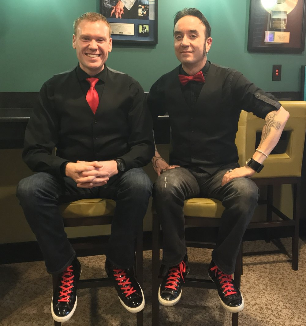 "Ace swears that he owned this outfit first and ""Twinning"" was Jeff's idea.  The two joked that they share the same brain and once purchased the same shirt unintentionally..  They rarely wore it for fear that they would show up at church in matching outfits."
