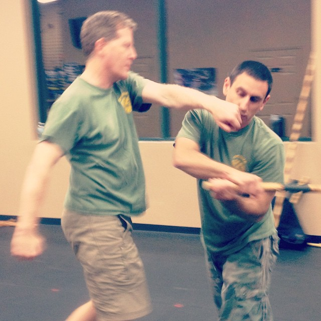 Bryan Johns and Noah Fishbane giving it some stick last night, at the Tues night class in Clayton