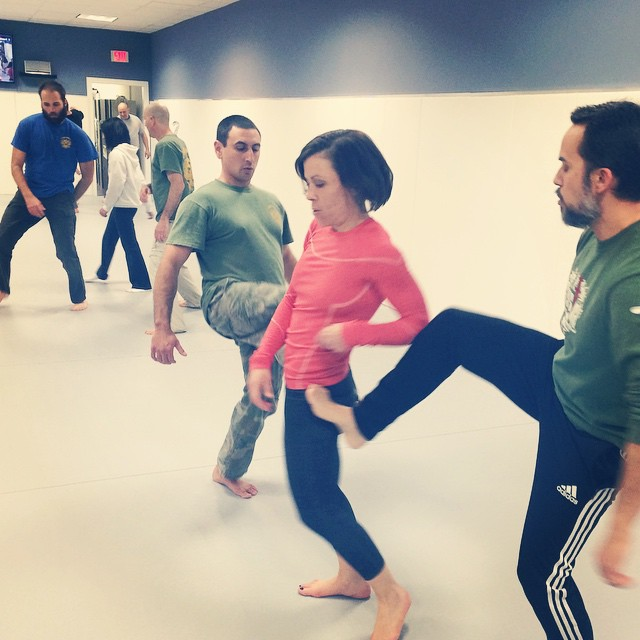 Jen takes on multiple kickers, at the Weds nights class in Chapel Hill