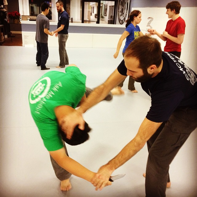 Brian Marco warms up for tomorrow's Knife in a Fight seminar in Chapel Hill.   Event starts 12pm, ends 4pm. All welcome.   NC Systema annual Xmas party follows from 5pm at Bailey's Pub and Grille. See you there, comrades.