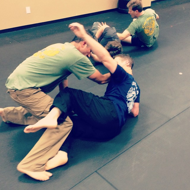 Fighting from the ground, in last night's class at Revolution Self Defense, Clayton