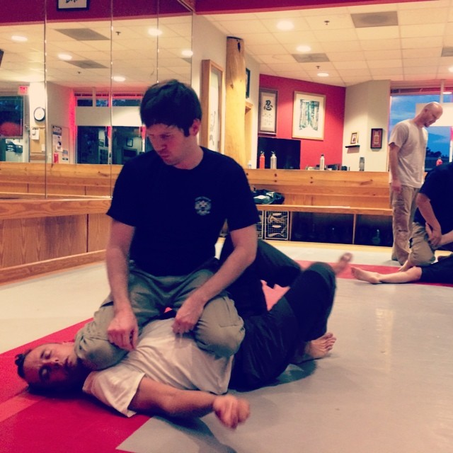 Allan gains some new dexterity, while Brian gets Mauled. Working beyond the simple knee-on-belly at the Tuesday class in Chapel Hill