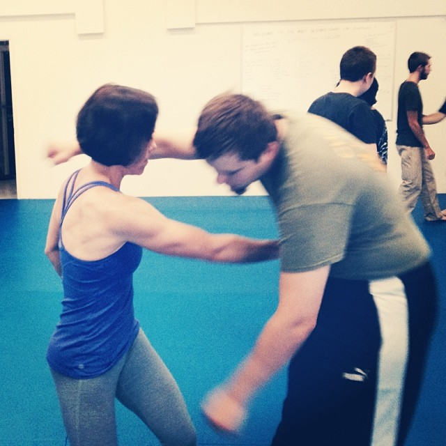 Jen pulls no punches with Adrian at the Friday night class in Chapel Hill