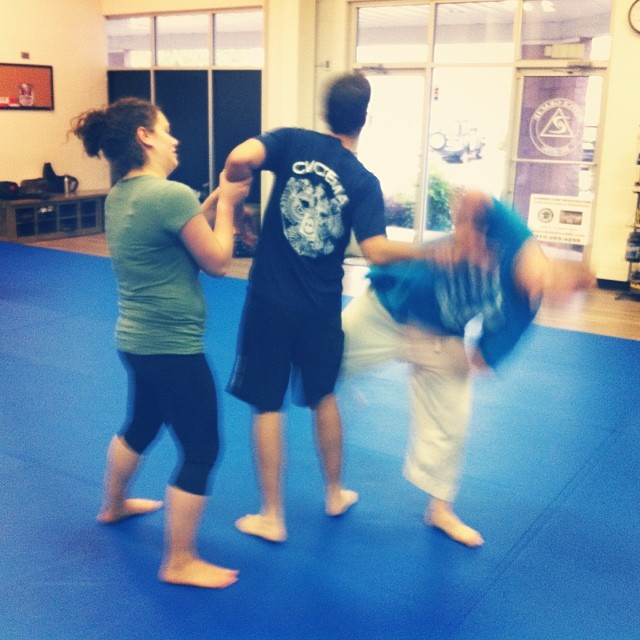 Rose, Sam and Chet get their three-way wrassle on at the Friday night class in Chapel Hill