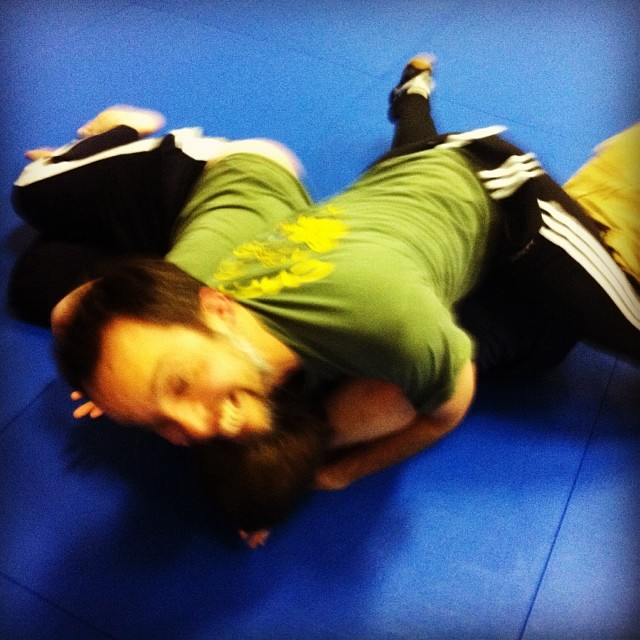 Sam breathing right and enjoying his groundwork, at last night's class in Chapel Hill