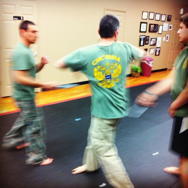 Jeff vs two knives, at the Wednesday night class at Revolution Self Defense