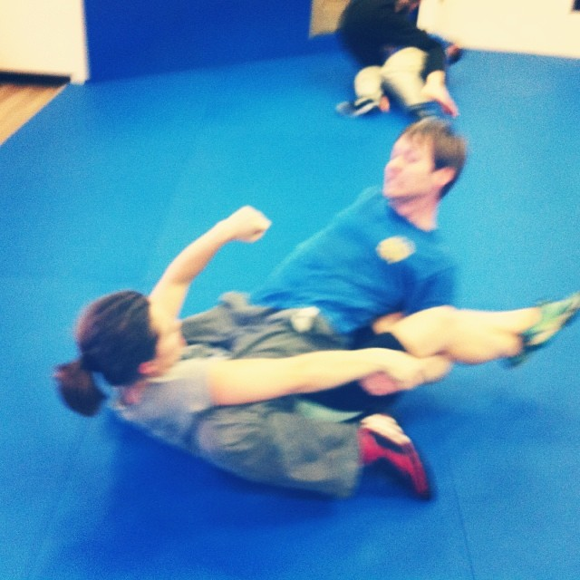Allan and Rachael get to grips during a fun Sunday grappling class