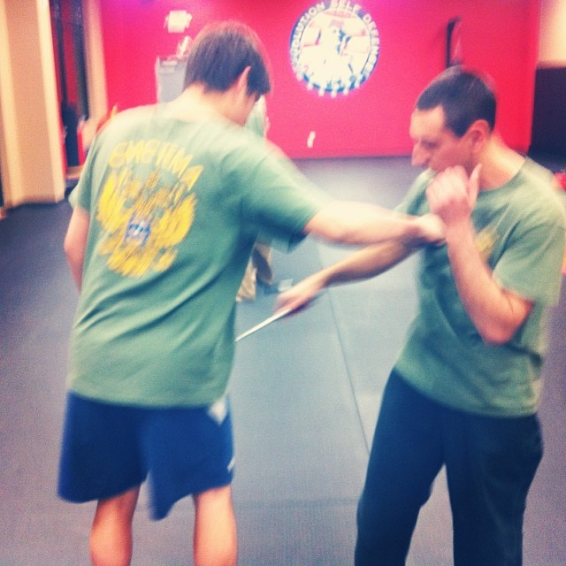 A little knife and strike, at the Weds class in Clayton