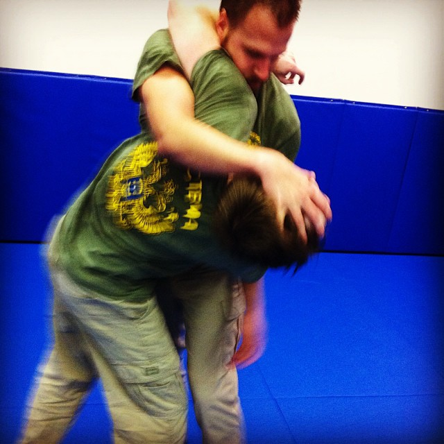 B holds his own, at a hard-wrasslin' Friday class