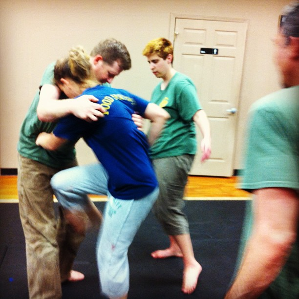 Holly gets stuck into the multiple attackers drills at last night's class in Clayton
