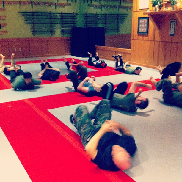 The Tuesday Systema class gettin' their crawl on @ the Chapel Hill Quest Center