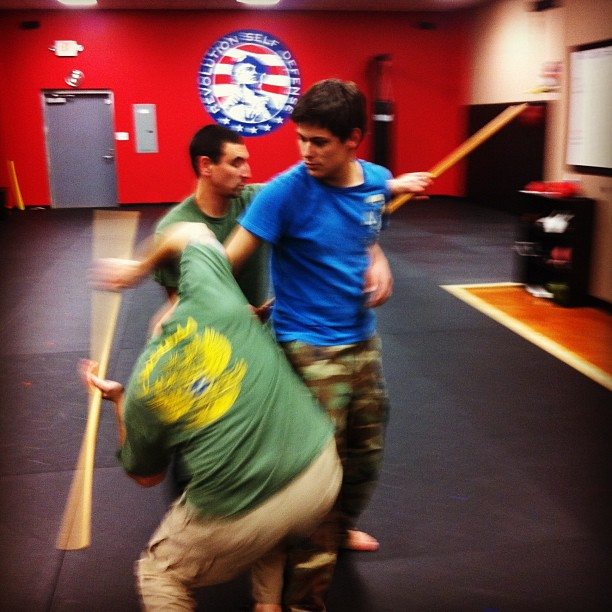Matt, Dan and Noah rockin' multiple attackers (with sticks) @ the Wedsnesday class, Revolution Self Defense, Clayton