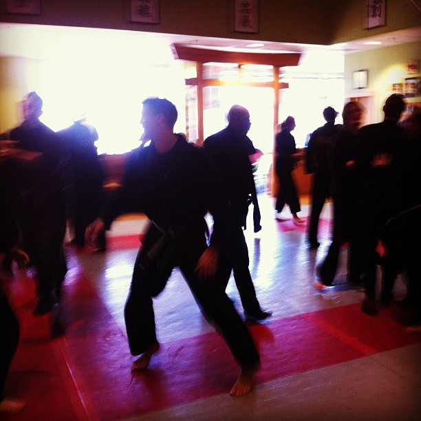 Multiple attacker workshop, with the Chapel Hill Quest Center ninjas