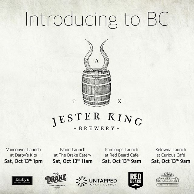 Mark your calendar! Saturday October 13th - our friends at @jesterkingbrewery will be taking over our taps. Starting at 9am, we will be proudly pouring their beer which is widely regarded as a world-renowned brewer of farmhouse ales and barrel-aged wild ales.. .. .. #craftbeer #farmhouseale #aged #rarebeer #saturdaysessions #curiousevents #taptakeover #downtownkelowna #tourismkelowna #beerdrinkerclub #beerfanatics #