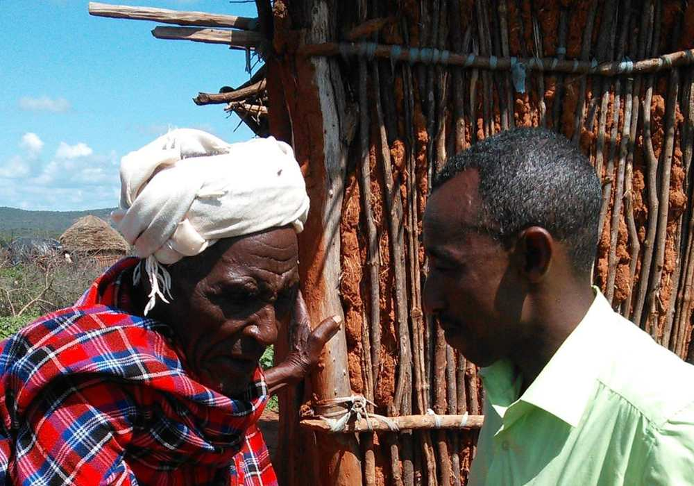 These two men, a tribal leader and his son, were reunited in Christ Jesus by hearing the Gospel on a Talking Bible.