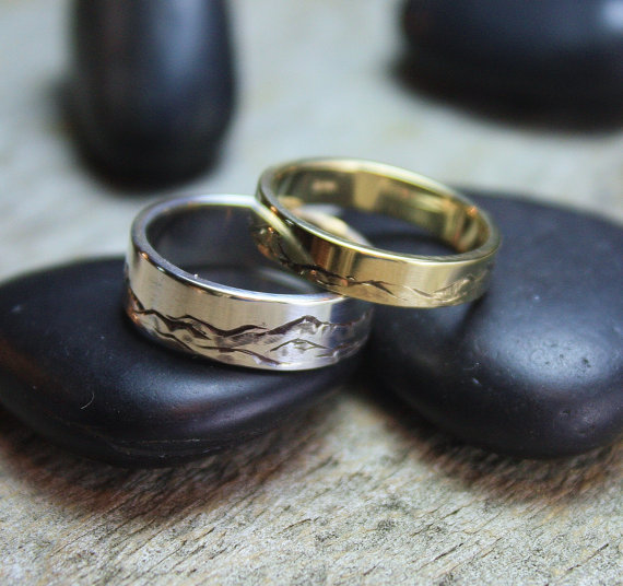Custom Mountain Range Rings in Silver and Gold by Global Pathways