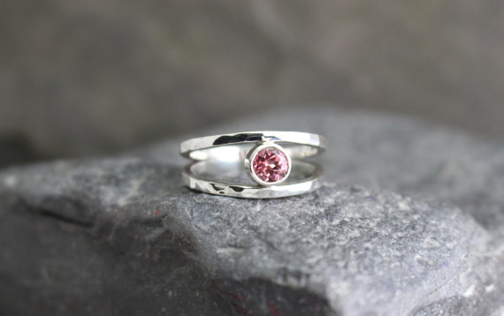 Pink Tourmaline in Sterling Split Band by Global Pathways