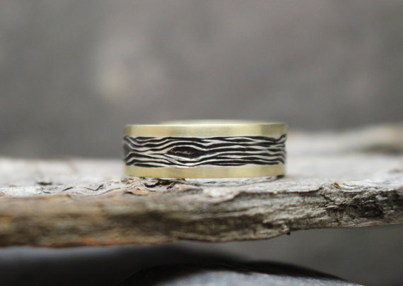 14k Yellow Gold and Sterling Silver Tree Bark Ring