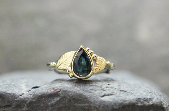 Tourmaline Set in 14k Gold Leaf and Twig Ring