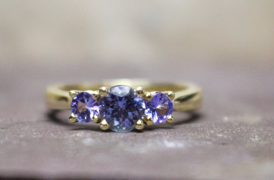 14k Yellow Gold Triple Tanzanite Prong Ring
