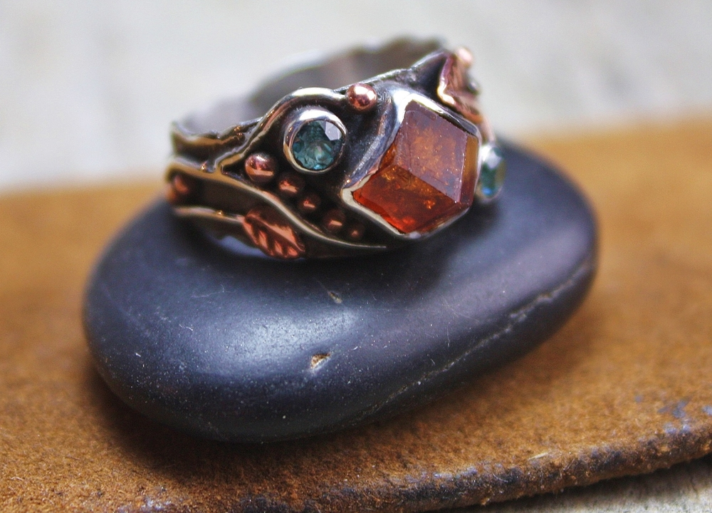 Custom Vermont Garnet with Blue Diamond with Copper Leaves in Oxidized Sterling