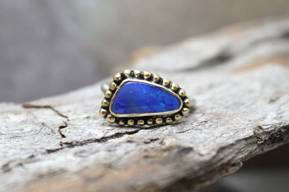 Blue Opal with 14 Gold Granules on Sterling Band