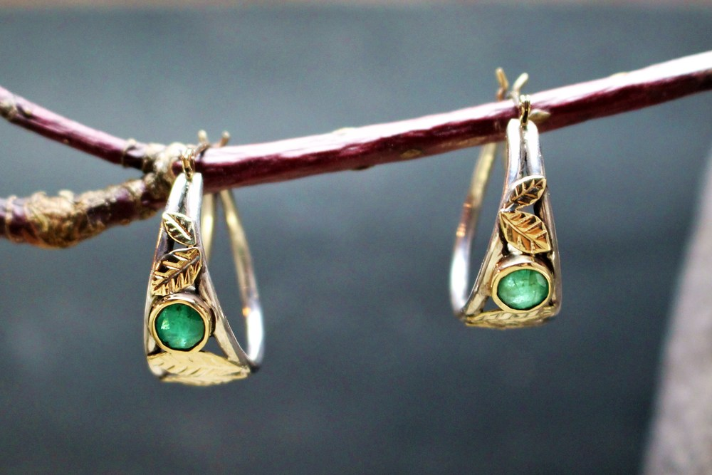 Emerald 14k Hoops with Leaf Design