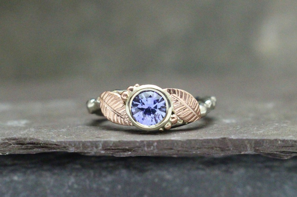 Full-Cut Lavender Sapphire with Rose Gold Leaves on a White Gold Twig Band