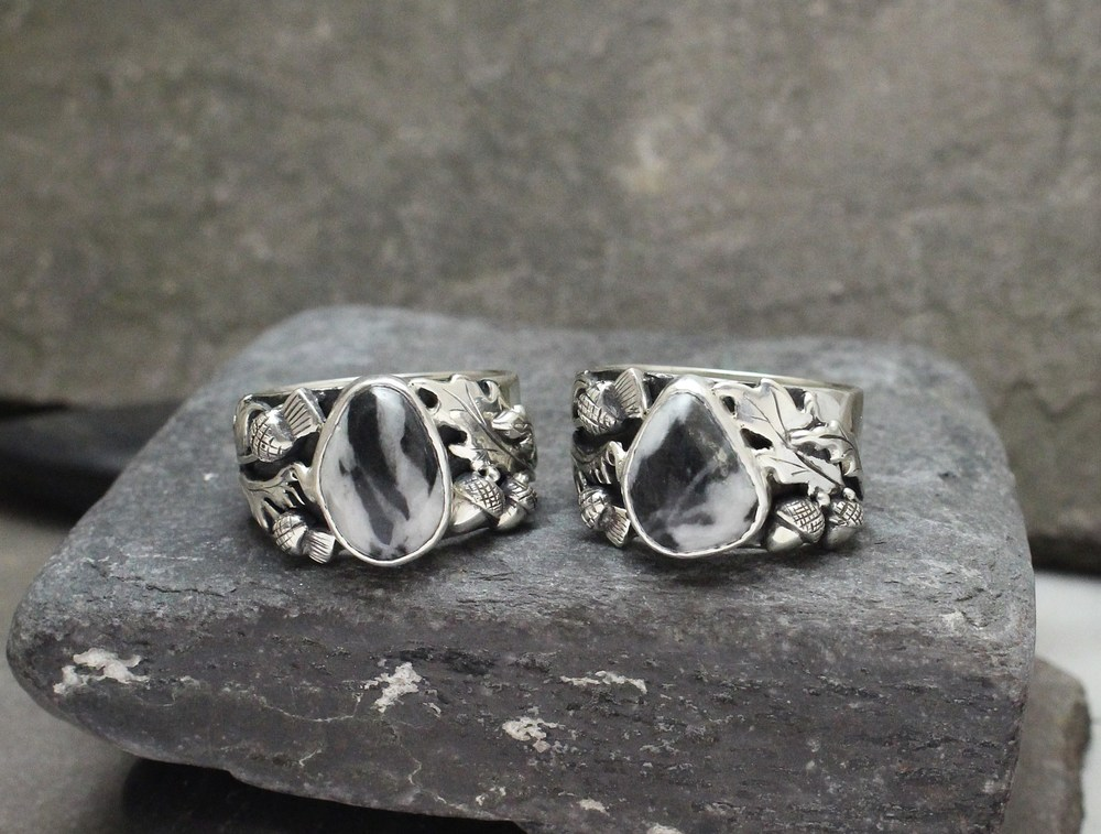 Vermont Quartz and Slate in Custom Sterling Band with Acorn and Thistle Design