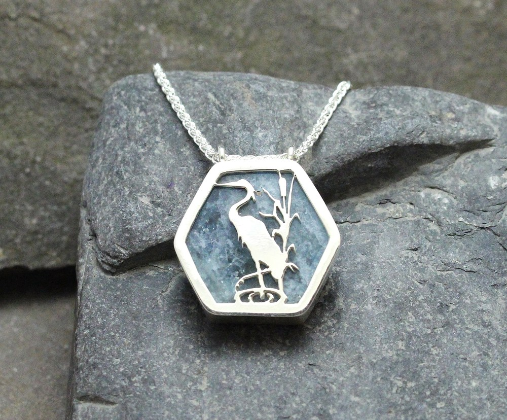 Blue Heron Sterling Cut-Out on Aquamarine Slice