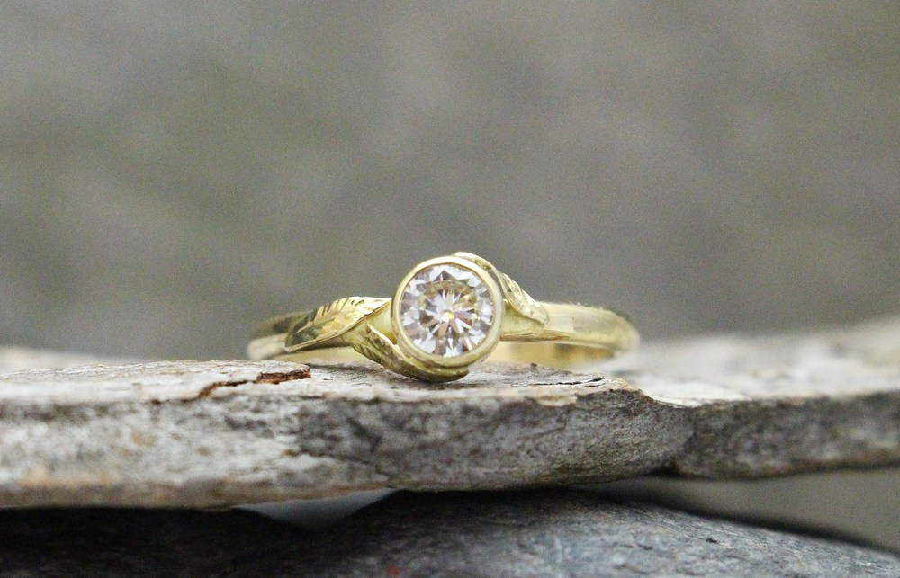 Moissanite in Yellow Gold with Leaf design by Global Pathways
