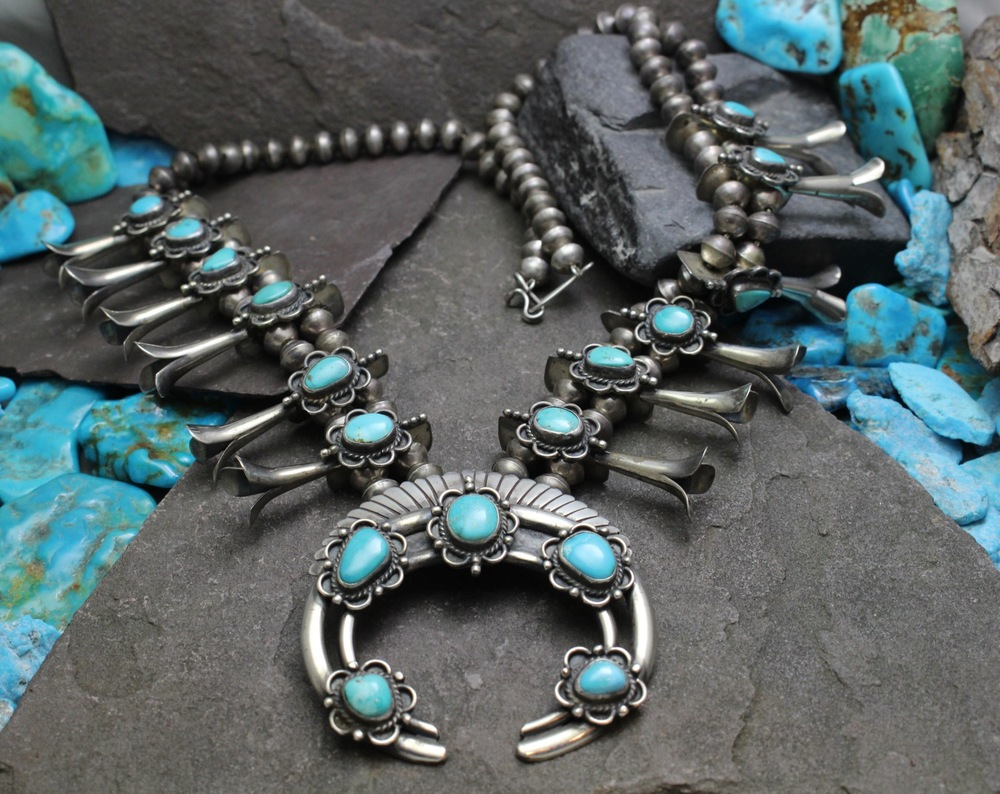 Early 1950's Native American Squash Blossom Turquoise Necklace from Arizona