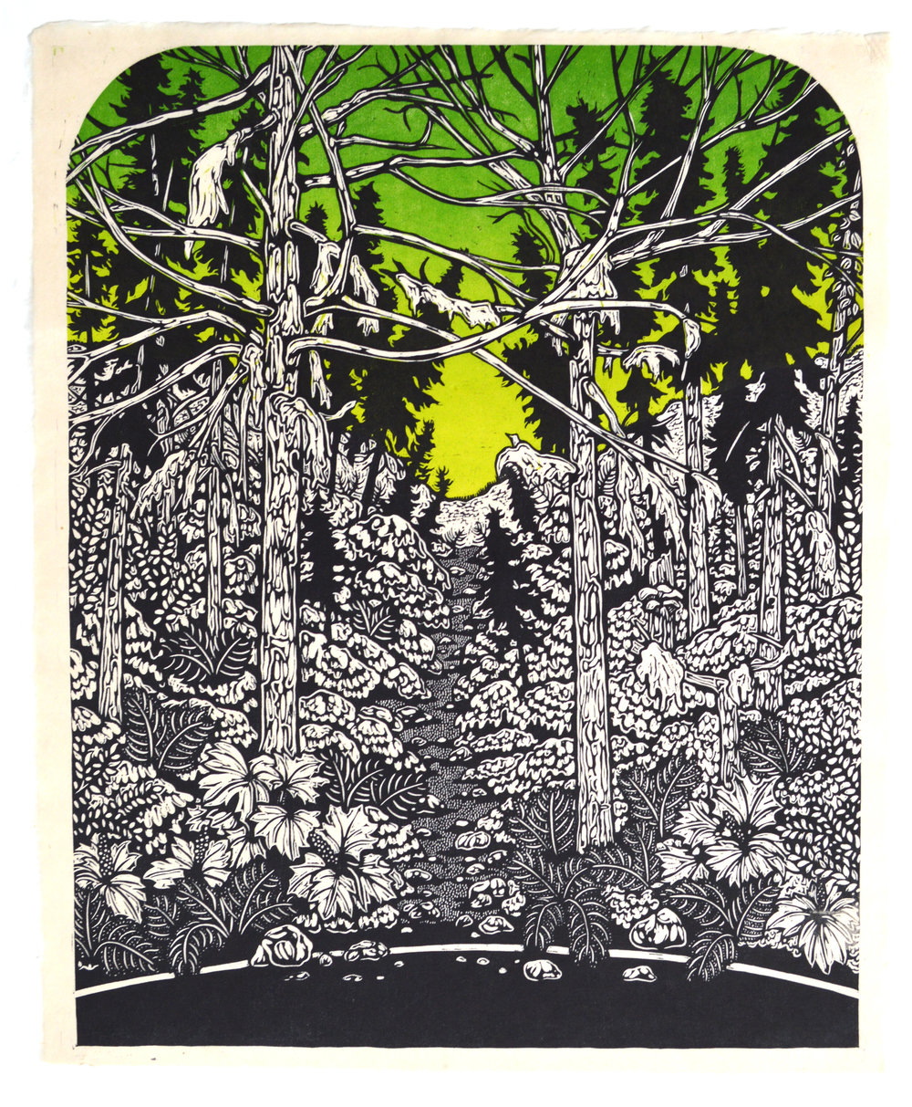 The Light of the Green Tunnel . Color woodcut print. 20x16""