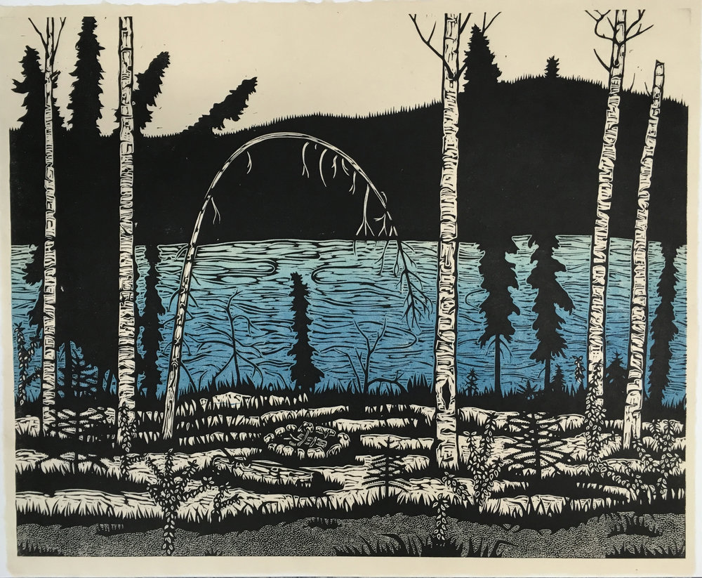 The Great Yukon River Path . Color woodcut print. 16x20""