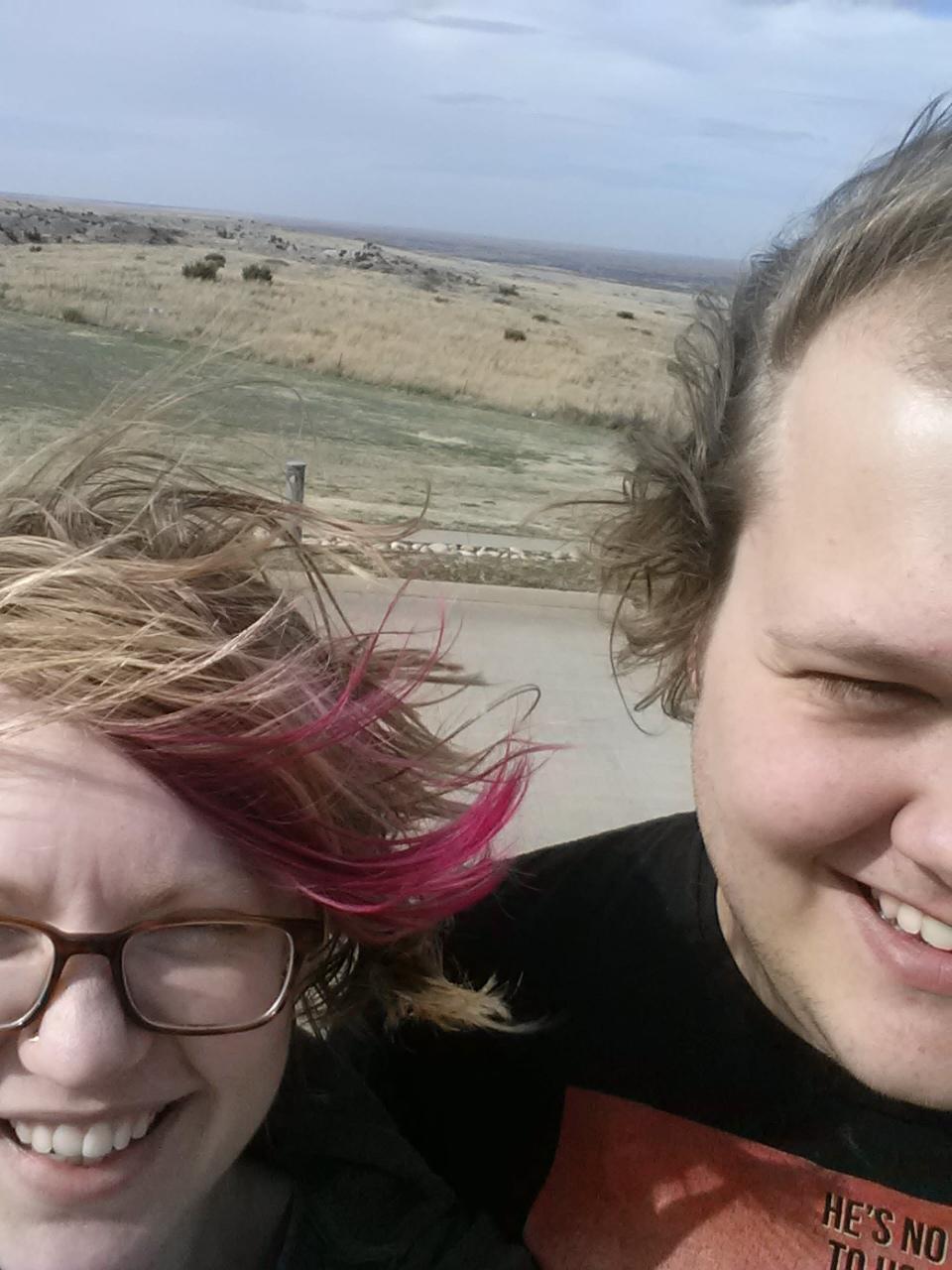 My husband and me in flat windy Texas.
