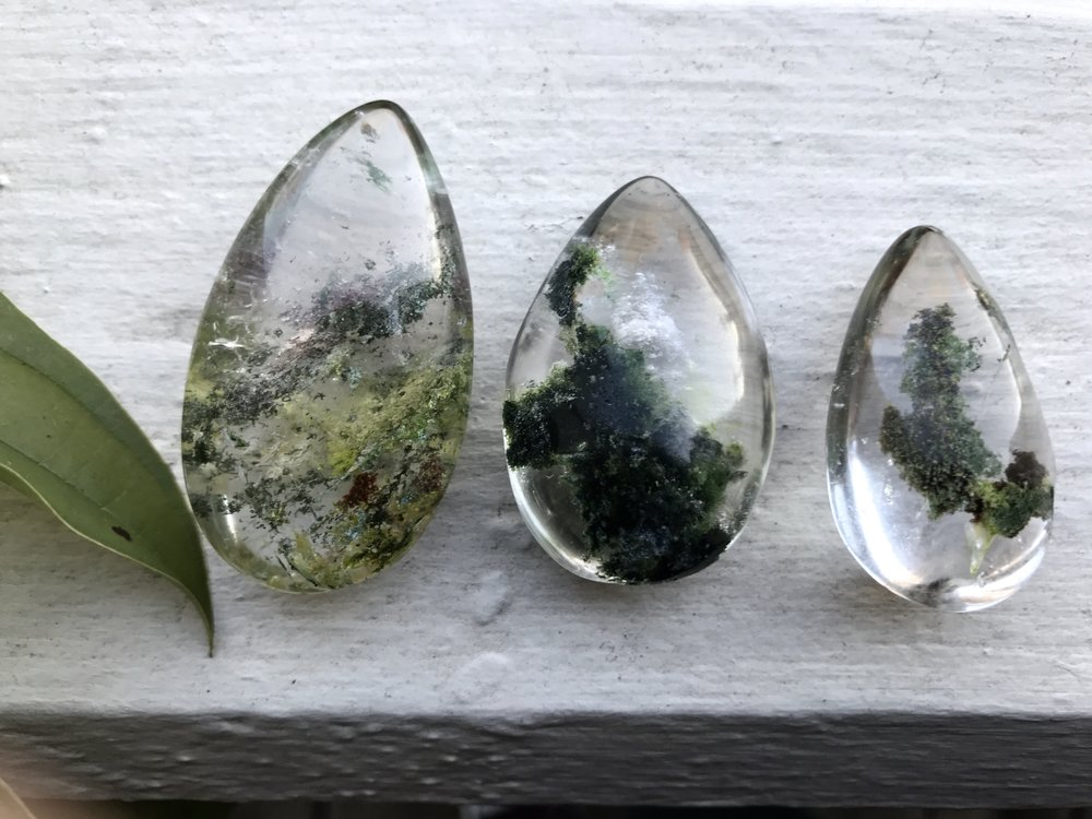 healing crystals- phantom quarts with green calcite