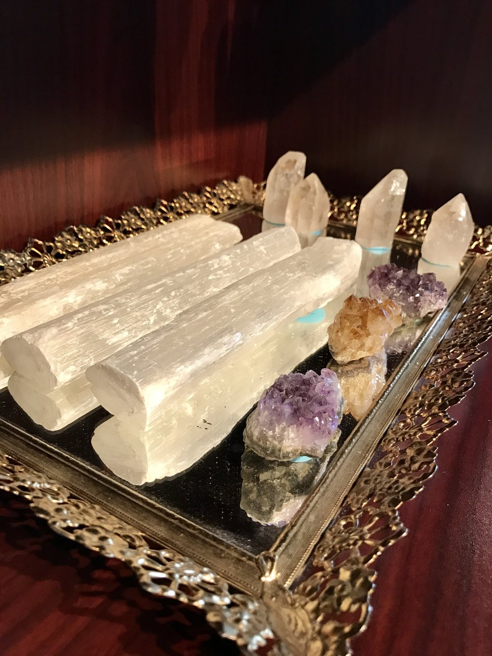 minerals, gems, crystals - selenite, clear quartz, citrine, amethyst