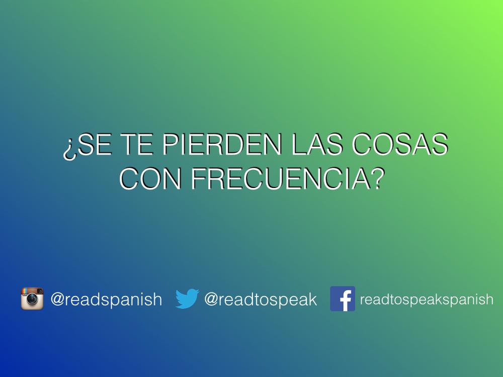 Read to Speak Spanish — Encuentro lo que no busco