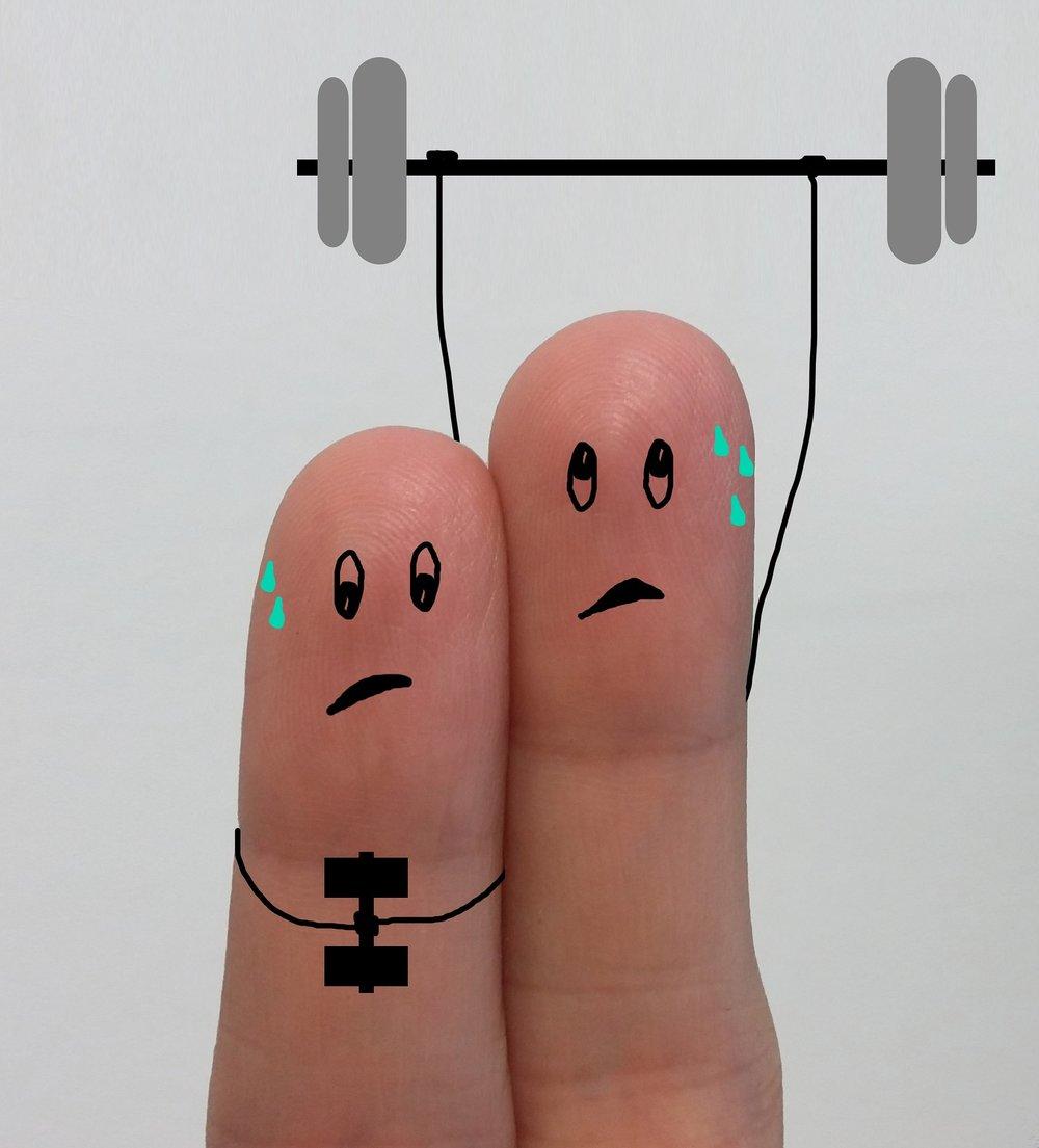 Bill y Bob sudan mucho cuando hacen ejercicio.