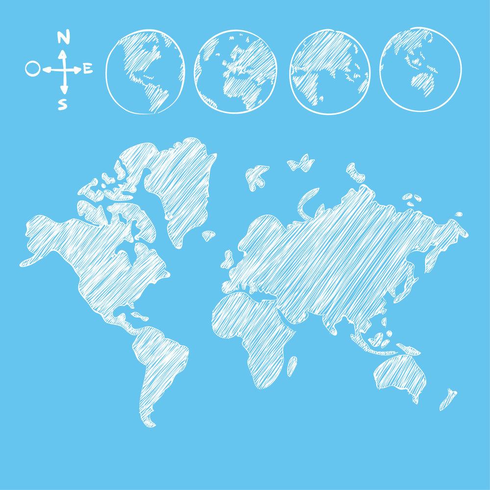 Este es el mapa del mundo. ¿Pero dónde está Antártida?