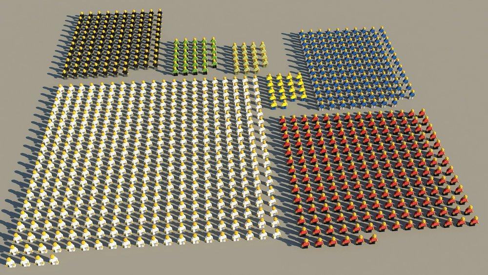 Un batallón de soldados Lego©.