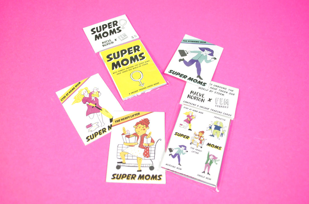 Super Moms trading cards by Maeve Norton