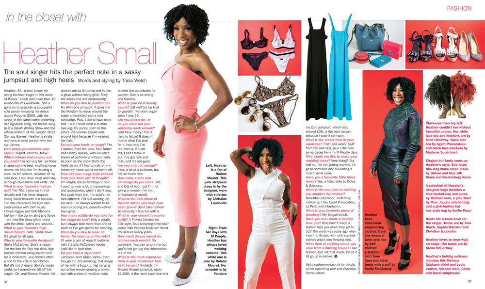 Heather Small Sunday Express Magazine Fashion Feature Heather Small The Voice Of M People