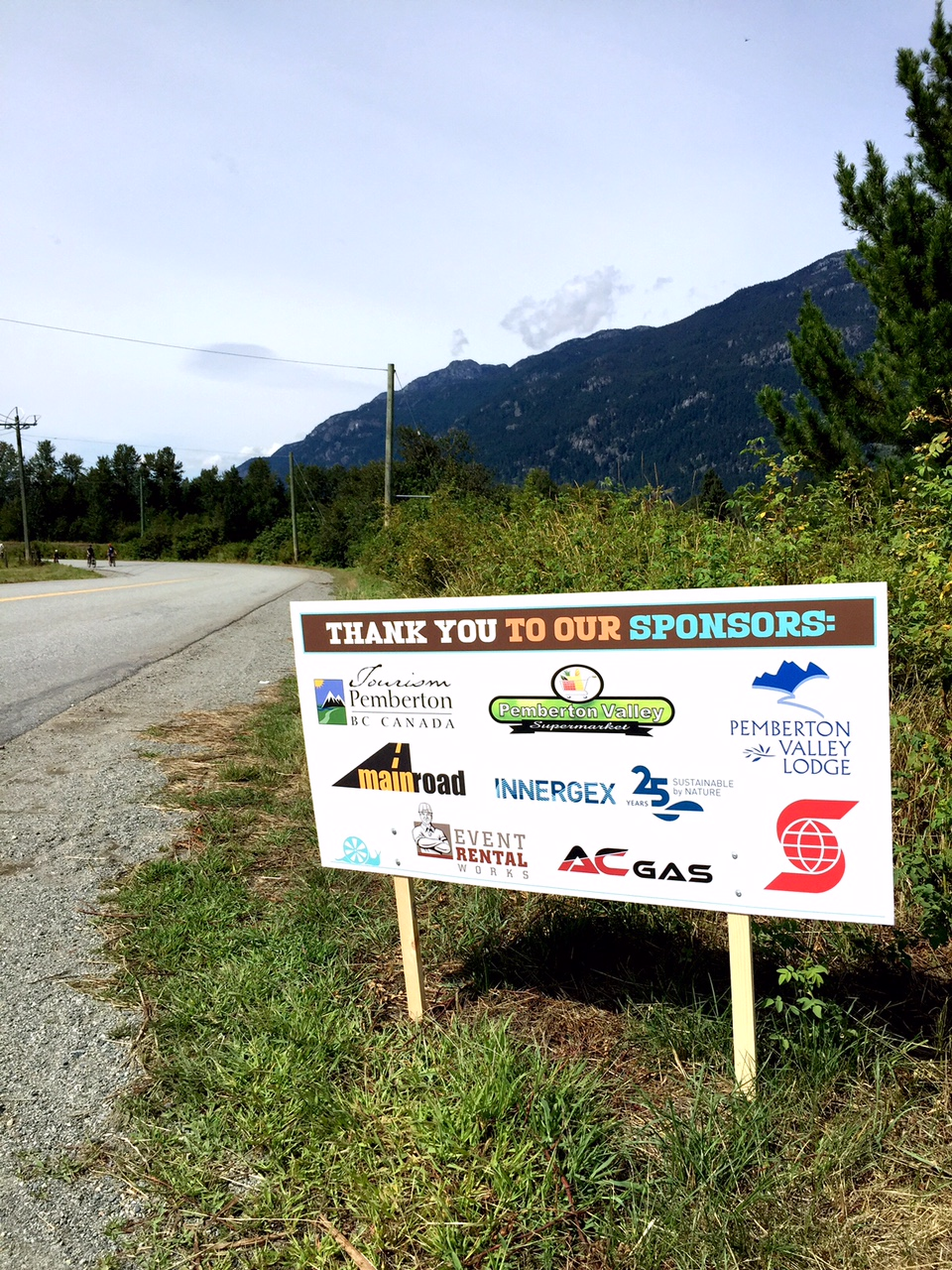 Sponsor signs along the route on event day