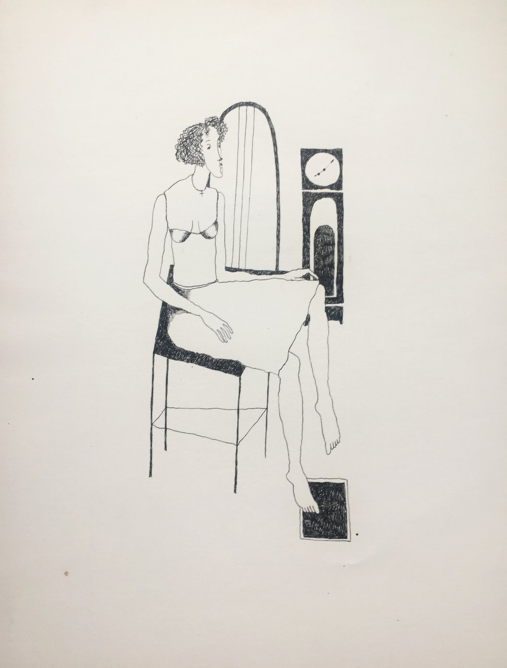 Woman with Grandfather Clock