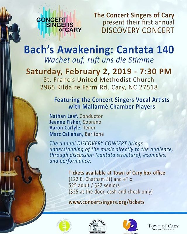 """Super pumped to be singing with the @concertsingersofcary for today's performance of the famous Bach """"Sleepers Awake"""" #cantata! Get your tickets online or on site and come thru!! #bach #sacredmusic"""