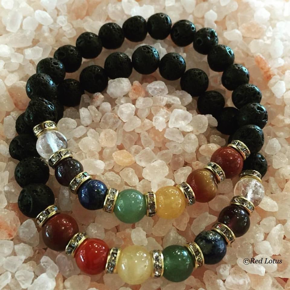 7 chakra lava stone bracelet
