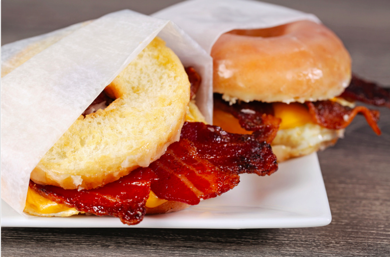 Breakfast Sandwich on Sliced Doughnut