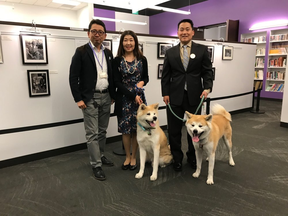 With the Director of The Japan Foundation Los Angeles Mr. Hideki Hara and The President of  the Akita Dog Preservation Society of North America
